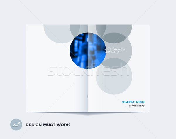 Abstract double-page brochure design round style with colourful circles for branding. Business vecto Stock photo © Diamond-Graphics