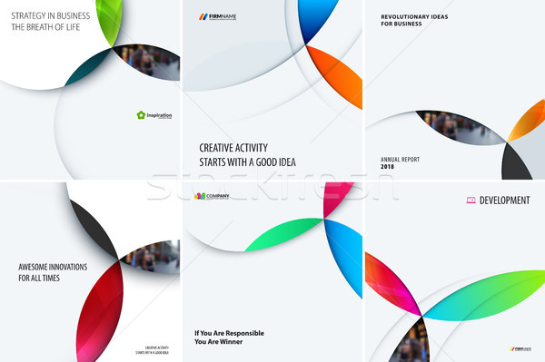Set of modern design abstract templates with colourful circles intersections. Creative business back Stock photo © Diamond-Graphics