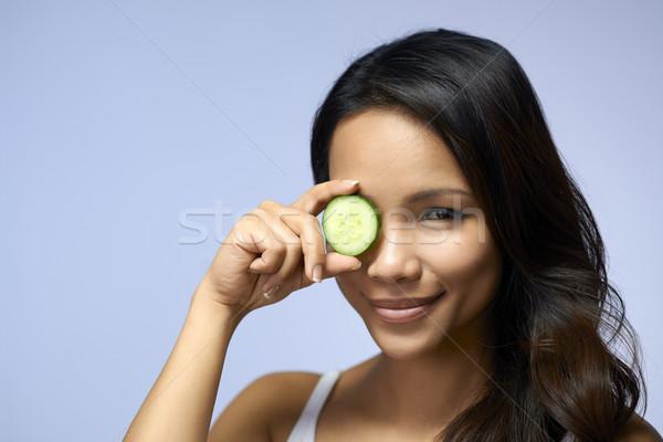 Asian fille beauté crème cosmétiques jeunes Photo stock © diego_cervo