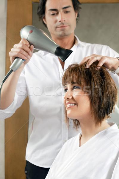 美容院 成人 女性 髪 側面図 男 ストックフォト © diego_cervo