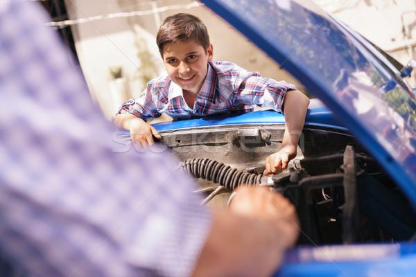 Erkek araba motor yaşlı adam dede Stok fotoğraf © diego_cervo
