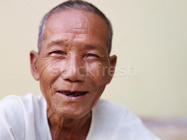 ストックフォト: 肖像 · 幸せ · 古い · アジア · 男 · 笑みを浮かべて