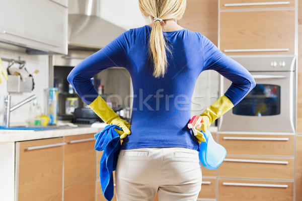 woman doing housekeeping Stock photo © diego_cervo