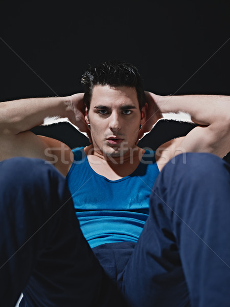 Stock fotó: Férfi · fekete · fiatal · felnőtt · kaukázusi · férfi · kék