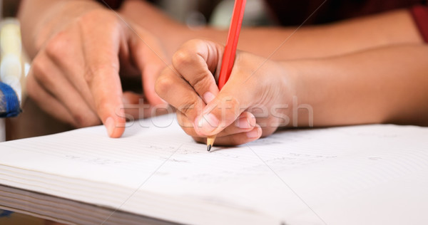 Elementary Girl Doing Homework Hand Writing On Exercise Book Stock photo © diego_cervo