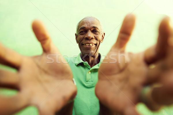 старые африканских человека рук оружия открытых Сток-фото © diego_cervo