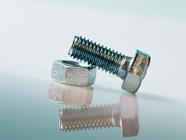 Csavar csavar ciánkék copy space fém acél Stock fotó © diego_cervo