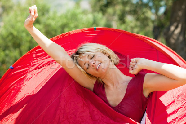 woman waking up Stock photo © diego_cervo