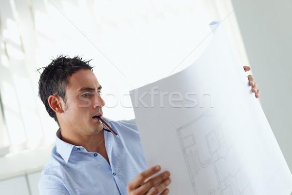 Männlich Architekt Porträt Erwachsenen Lesung Blaupause Stock foto © diego_cervo