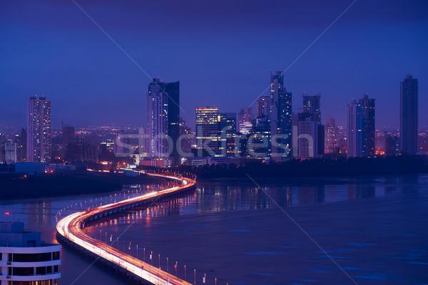 Panama City Night Skyline View Of Traffic Cars On Highway Stock photo © diego_cervo