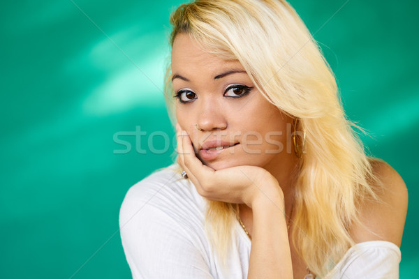 Anxious People Portrait Latina Girl Biting Lips Stock photo © diego_cervo