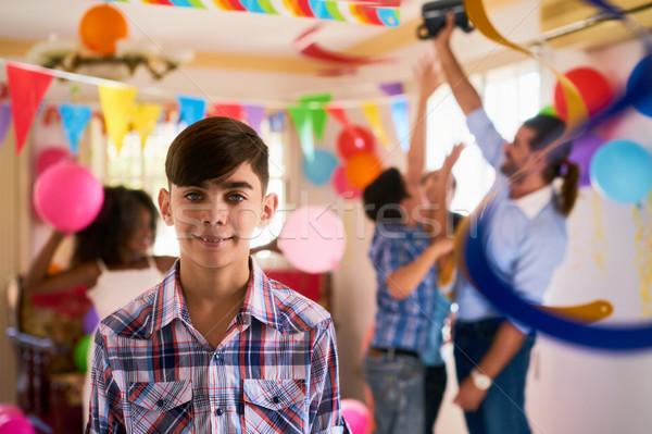 Stockfoto: Portret · gelukkig · latino · kind · glimlachend · verjaardagsfeest