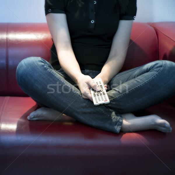 Foto stock: Televisão · ver · mulher · jovem · casa · mulher