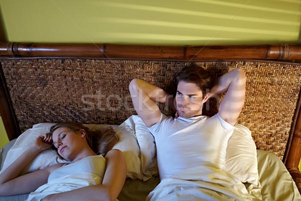 Stock fotó: Fiatal · pér · alszik · ágy · kaukázusi · heteroszexuális · pár · férfi