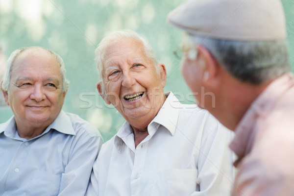Group of happy elderly men laughing and talking Stock photo © diego_cervo