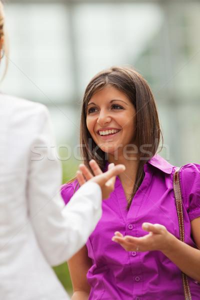 Collègues parler extérieur deux adulte affaires Photo stock © diego_cervo