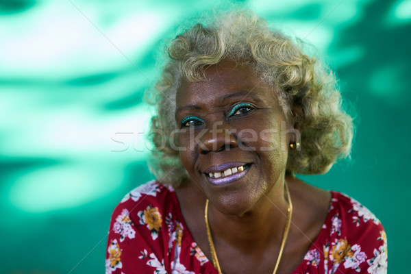 Real People Portrait Funny Elderly Woman Hispanic Lady Laughing Stock photo © diego_cervo