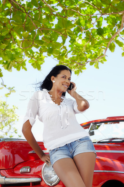 beautiful woman on the phone near cabriolet car Stock photo © diego_cervo