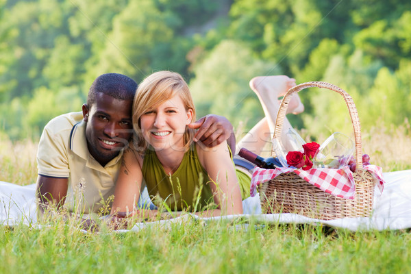 couple picnicking in park Stock photo © diego_cervo