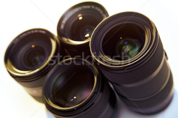 Studio Shot Of DSLR Lenses Isolated On White Background Stock photo © diego_cervo