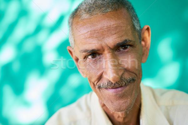 Mensen portret gelukkig ouderen latino man Stockfoto © diego_cervo