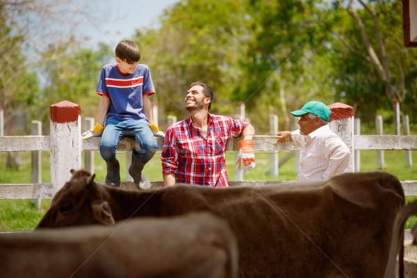 Három generációk család gazdák nevet farm Stock fotó © diego_cervo