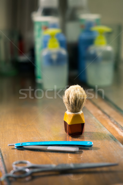 Close-up of brush and razor in barber shop Stock photo © diego_cervo