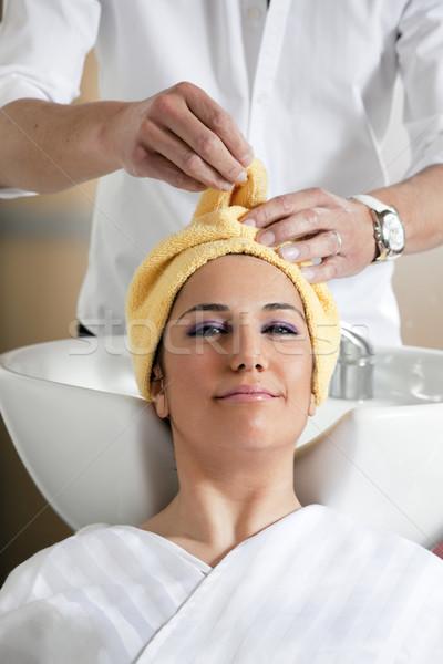 Foto stock: Salão · de · cabeleireiro · retrato · mulher · jovem · mulher · homem · beleza
