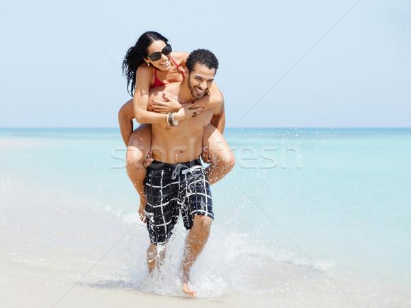 Stockfoto: Op · de · rug · gelukkig · man · vrouw · volwassen · paar
