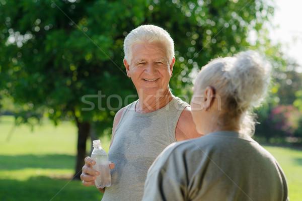 Stockfoto: Drinkwater · fitness · park · senior · mensen