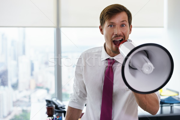 White Collar Worker With Megaphone Fighting For Labor Rights-2 Stock photo © diego_cervo
