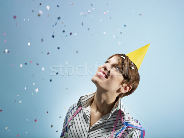 businesswoman with confetti Stock photo © diego_cervo