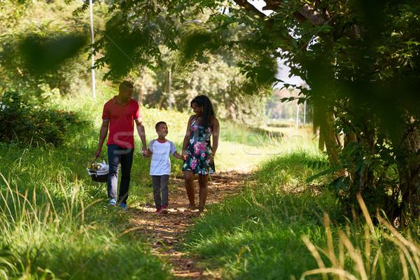 Zdjęcia stock: Szczęśliwy · czarny · rodziny · spaceru · miasta · parku