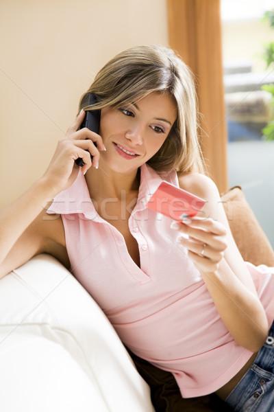 Warenkorb entspannenden home Telefon Kreditkarte Stock foto © diego_cervo