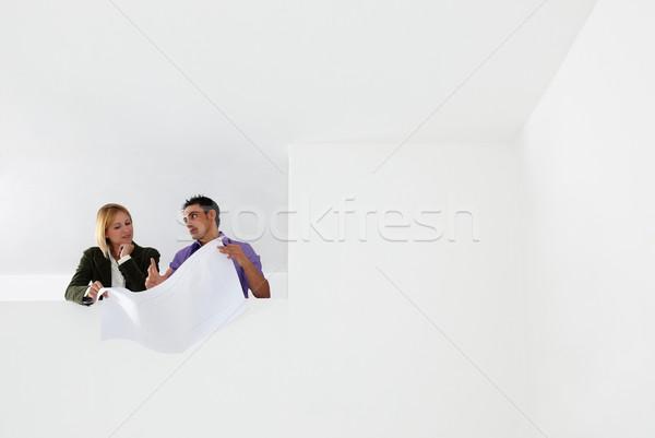 Stockfoto: Architect · mannelijke · vrouw · onderzoeken