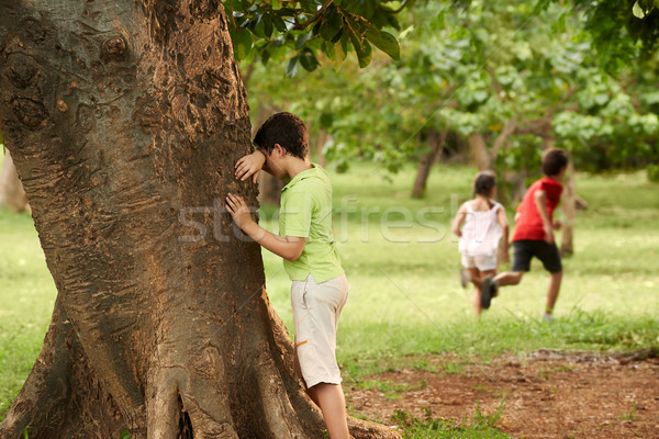 male and female children playing hide and seek Stock photo © diego_cervo