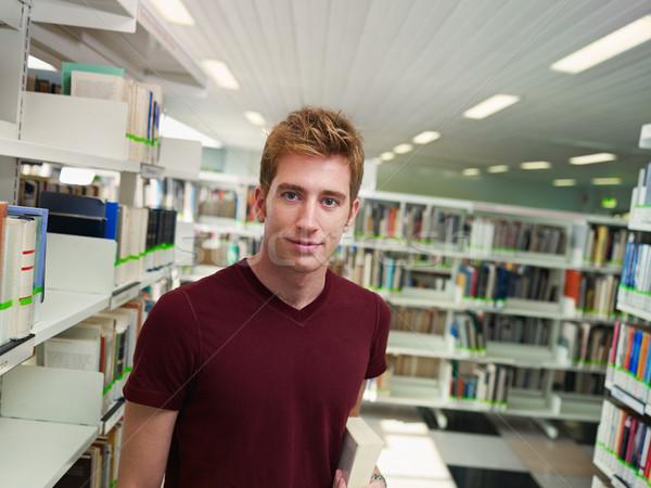 Stock fotó: Portré · fickó · könyvtár · férfi · főiskolai · hallgató · könyv