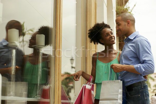 African American Couple Look Shop Window In Panama City Stock photo © diego_cervo