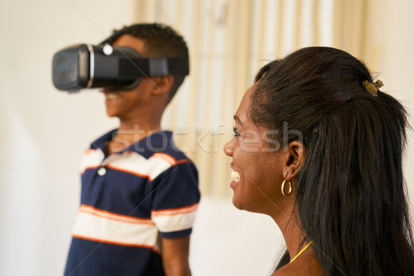Happy Black Family Playing With Virtual Reality Goggles VR Heads Stock photo © diego_cervo