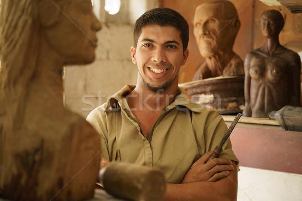 Portret man werken gelukkig kunstenaar kunst Stockfoto © diego_cervo