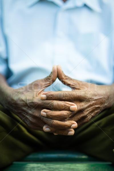 Dalgın yaşlı adam oturma bank park Stok fotoğraf © diego_cervo