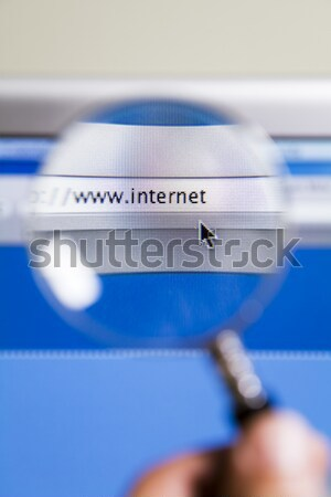 Lente di ingrandimento internet url schermo del computer computer mondo Foto d'archivio © diego_cervo