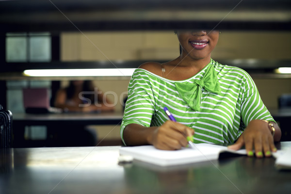 College library and female student, young black woman studying Stock photo © diego_cervo