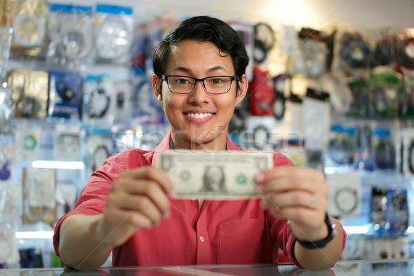 Foto stock: Feliz · chinês · homem · primeiro · dólar