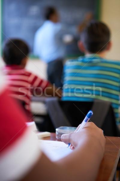 Stock fotó: Közelkép · diák · kéz · ír · papír · iskola