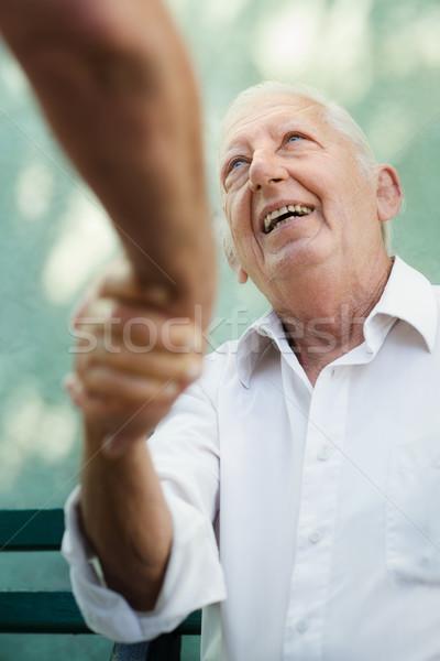 Stock fotó: Csoport · boldog · idős · férfiak · nevet · beszél