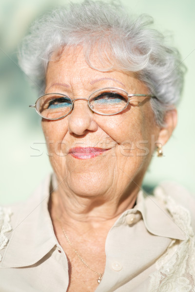 Old woman with eyeglasses smiling and looking at camera Stock photo © diego_cervo