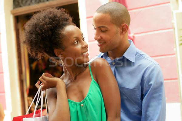 Portré afroamerikai pár vásárlás Panama város Stock fotó © diego_cervo
