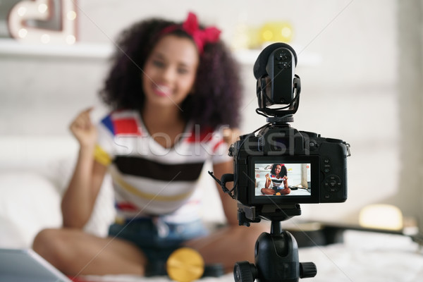 Stock photo: Girl Recording Vlog Video Blog At Home With Camera