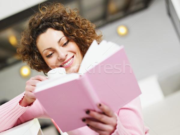 Stok fotoğraf: Kadın · okuma · kitap · ev · içme · kahve